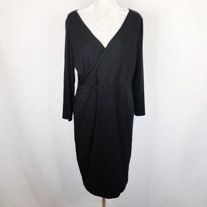 Loft Dress Black Knit Sheath Jersey V-Neck XLP